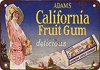 Shimaier 壁の装飾 ブリキ 看板メタルサイン 1920 Adams California Fruta goma ウォールアート バー カフェ 20×30cm ヴィンテージ風 メタルプレート
