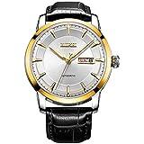(バオショ)BUREI腕時計 メンズ 日付曜日表示 機械式ウオッチ  ブラック小牛皮レーザー ホワイト文字盤 金色ケース