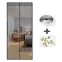 ANUO 蚊帳のドア ドアスクリーン、通気性マグネットカーテンハンズフリーガラス繊維メッシュ網戸 フレンチドア磁気スクリーンドアBlack_63x87in/160x220cm