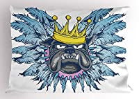 Humor Pillow Sham by, Grumpy King Puppy Dog with Wing Feathers Fun Cartoon Animal Illustration, Decorative Standard Queen Size Printed Pillowcase, 30 X 20 Inches, Violet Blue Yellow Grey