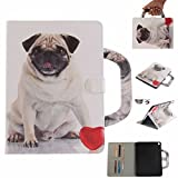 Lenovo Tab4 8 Plus Tablet Movie Stand Case, Art Paint Portable Hand Strap Cover[Money Credit Card ID Slots] TAITOU New Soft PU Leather Light Case For Lenovo Tab 4 8 Love Pug Dog