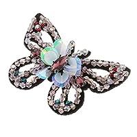 chiwanji 蝶形 ラインストーン スパンコール ビーズ パッチ 刺繍アップリケ ピンク