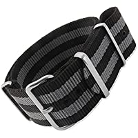 20mm G10 Nato James Bond Nylon Strap Polished Buckle - NYJ Double Black & Grey