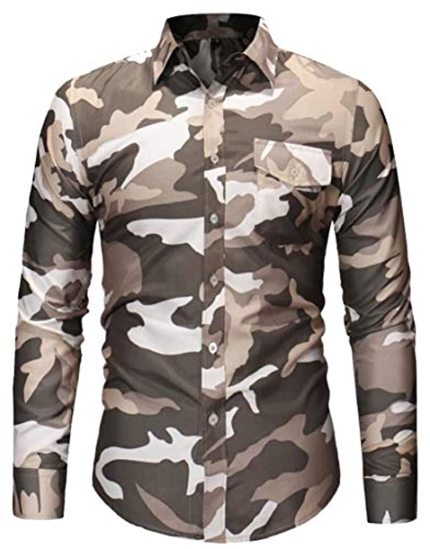Fly Year-JP メンズヒップスターシャツカモカスタムフィット印刷ボタンフロントシャツ