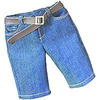 Dovewill 1/6スケール 素敵 デニム製 ショートパンツ   ベルト 12 インチ 男性用 フィギュア用  - 青色