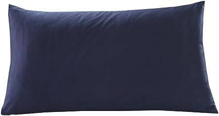 枕カバー 極細綿100% 手触り柔らかい ホテル品質 色褪せなく 300本高密度生地 湿気こもらず 防ダニ 3サイズ5カラー選べる (35×50cm, ネイビー)