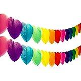 ハート 型 ペーパー ガーランド カラフル 虹色 約3m / バースデー ウェディング 二次会 パーティー イベント 飾りつけ 装飾 デコレーション インテリア / (2個)