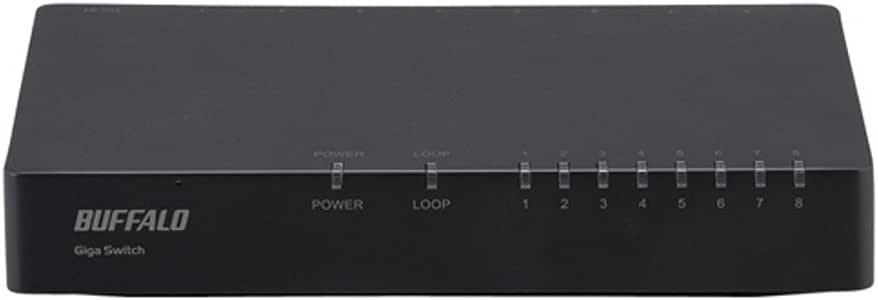 BUFFALO Giga対応 プラスチック筺体 AC電源 8ポート ブラック スイッチングハブ LSW5-GT-8EP/BK