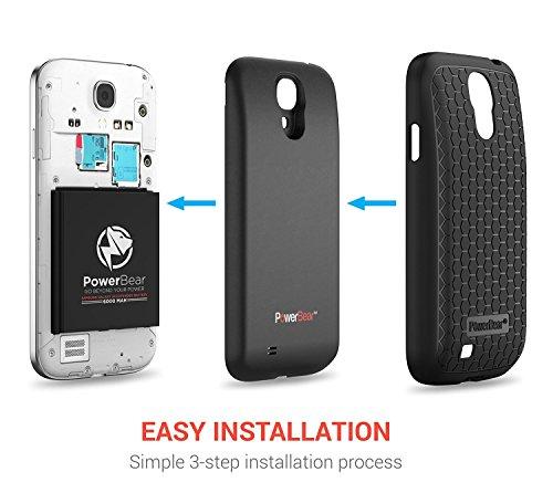 PowerBearサムスン・ギャラクシー S4 6000mAh [Samsung Galaxy S4] 大容量バッテリー&バックカバー&保護ケース (最大2.3倍のバッテリー電源) - ブラック[24ヶ月保証&スクリーン・プロテクターが含まれています]