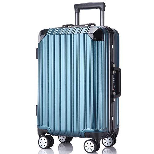 レーズ(Reezu) スーツケース 軽量 キャリーバッグ アルミフレーム キャリーケース TSAロック付 8輪 アルミ合金製 耐衝撃 旅行出張 1年保証 ブルー blue Mサイズ 約70L