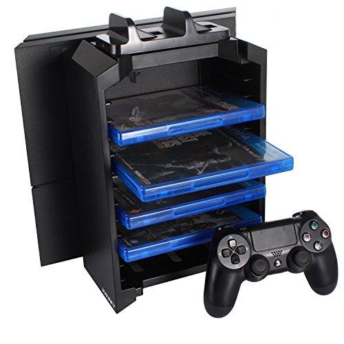 J-KONKY PS4多機能縦置きスタンド 12枚ソフト収納 コントローラー2台 置くだけ充電スタンド 騒音なし ブラック