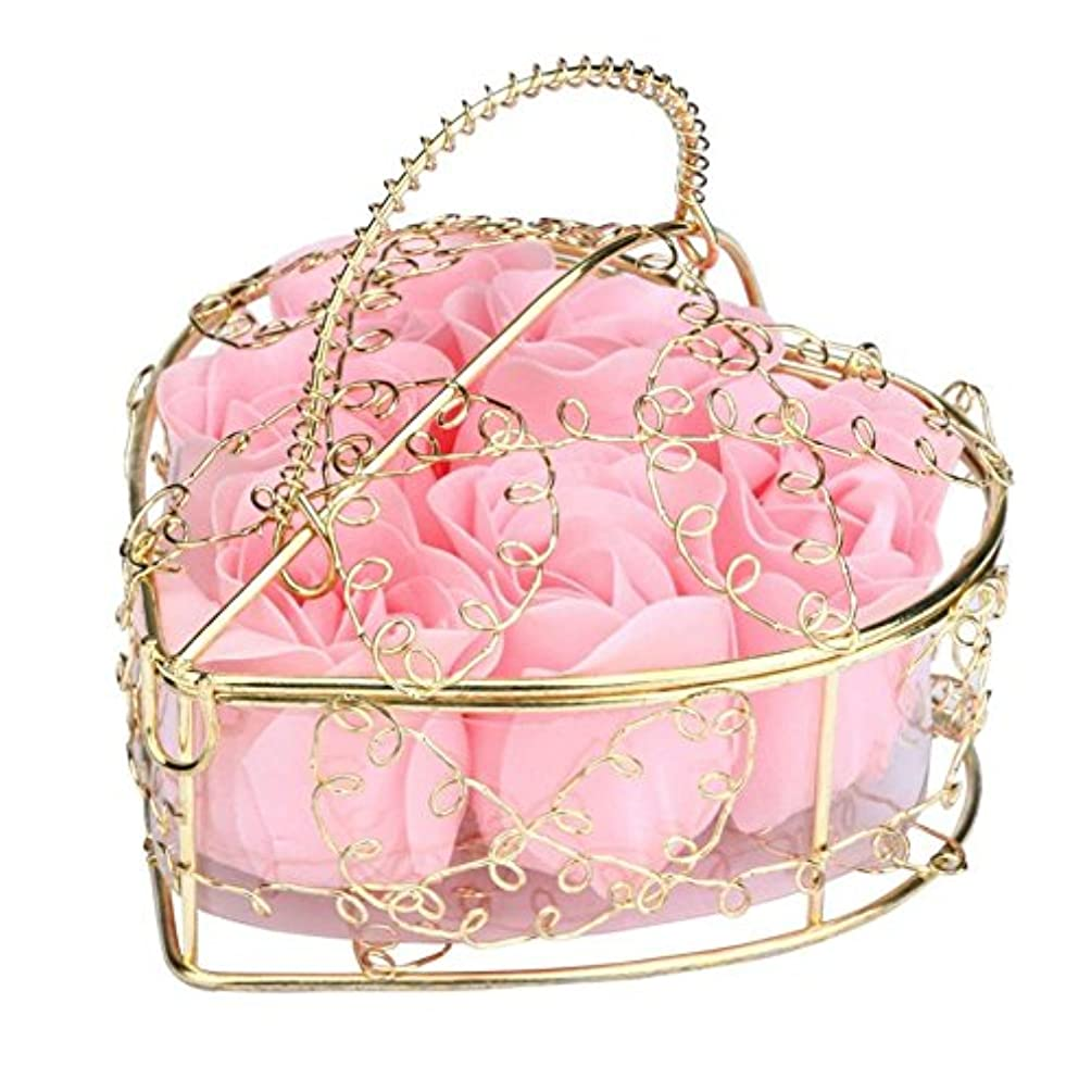 タック地域の準備したSODIAL 6個の香り付きローズフラワー 花びらバス ボディソープ ウェディングパーティーギフト ホームDIYデコレーション(ピンク)