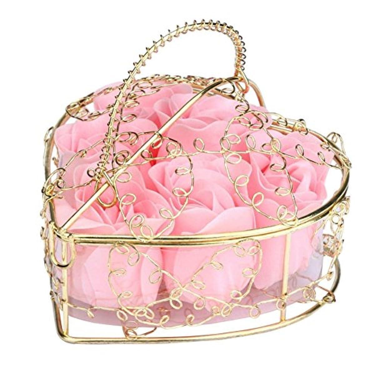 SODIAL 6個の香り付きローズフラワー 花びらバス ボディソープ ウェディングパーティーギフト ホームDIYデコレーション(ピンク)