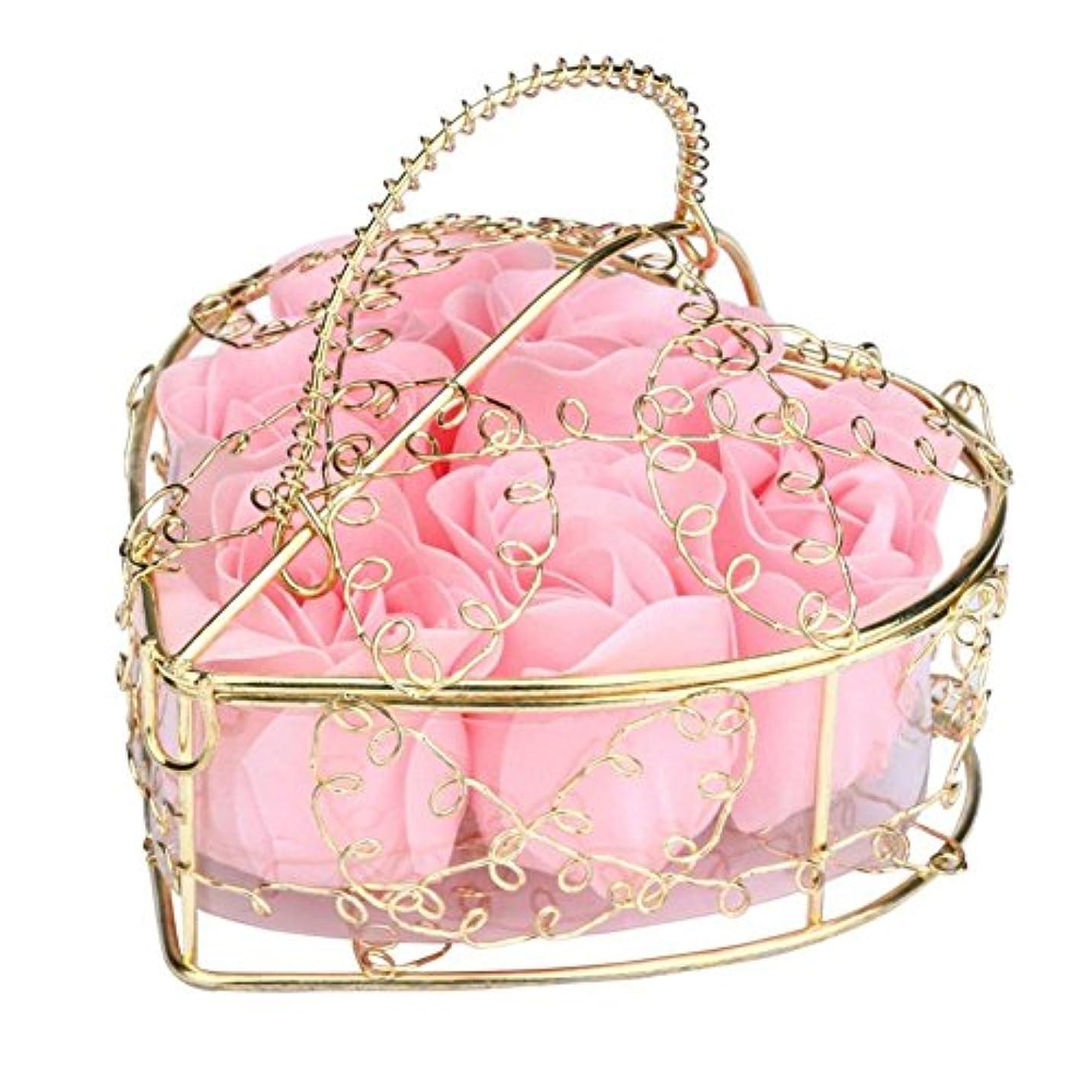 吐き出すリテラシー不定SODIAL 6個の香り付きローズフラワー 花びらバス ボディソープ ウェディングパーティーギフト ホームDIYデコレーション(ピンク)