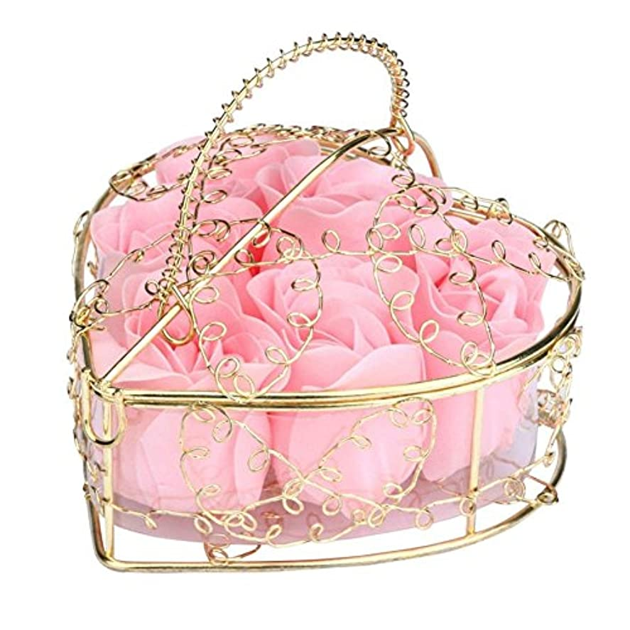 ベル宣伝マウスSODIAL 6個の香り付きローズフラワー 花びらバス ボディソープ ウェディングパーティーギフト ホームDIYデコレーション(ピンク)