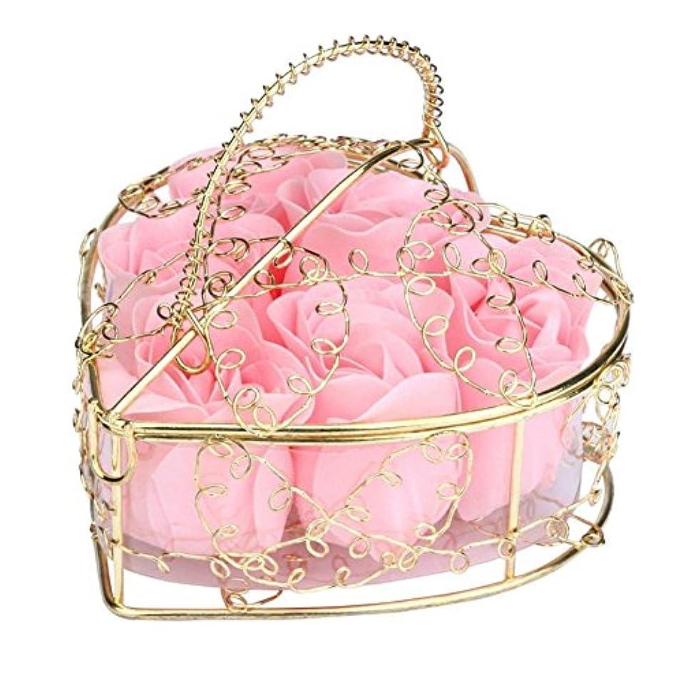 リース薄汚いハプニングSODIAL 6個の香り付きローズフラワー 花びらバス ボディソープ ウェディングパーティーギフト ホームDIYデコレーション(ピンク)