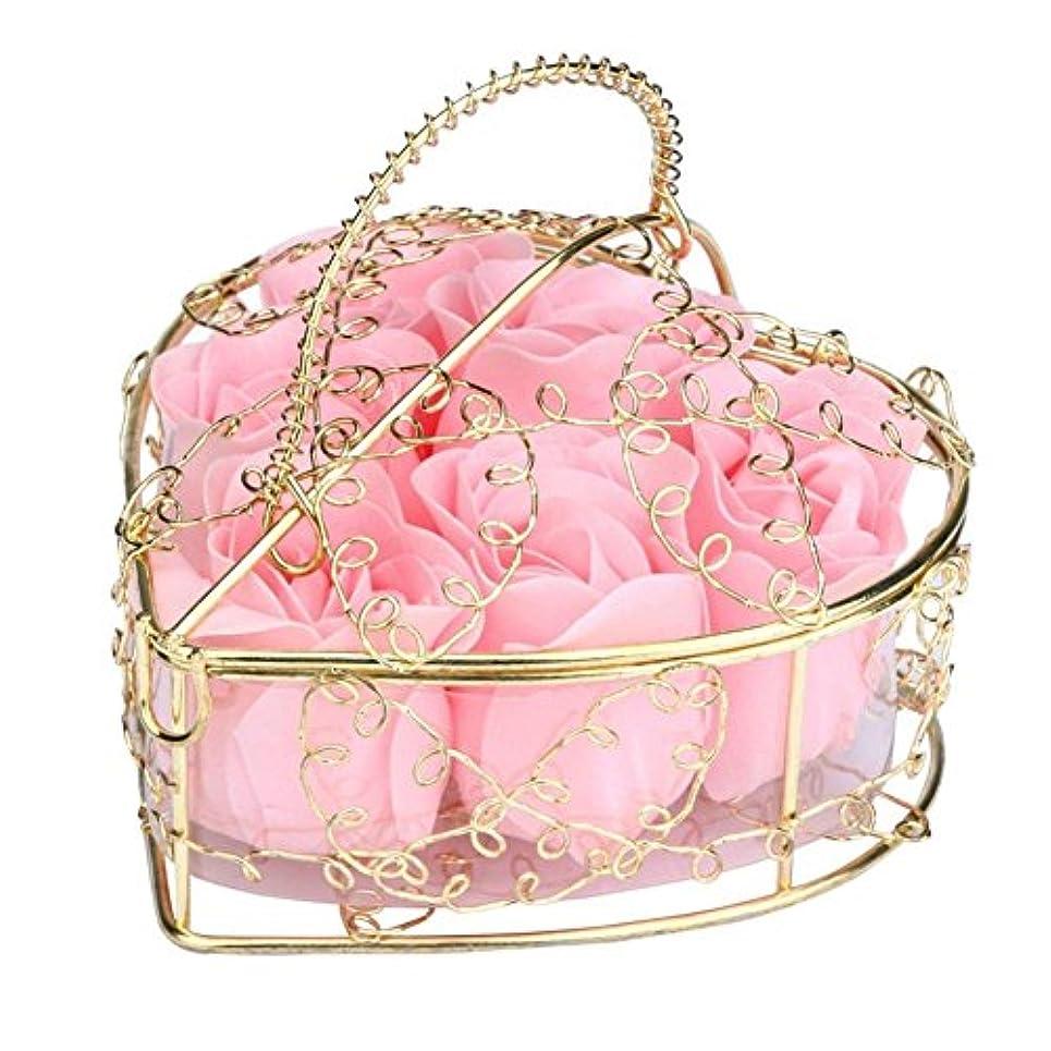 求人引き潮任意SODIAL 6個の香り付きローズフラワー 花びらバス ボディソープ ウェディングパーティーギフト ホームDIYデコレーション(ピンク)