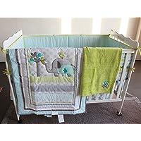 Blue Elephant 8pcs crib set Baby Bedding Set Crib Bedding Set Girl Boy Nursery Crib Bumper bedding with blanket [並行輸入品]