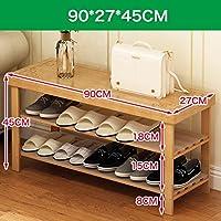 自然な竹の靴のラック、ベンチの椅子、床靴、アセンブリ靴の収納ラック (サイズ さいず : 90cm)