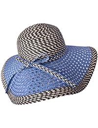 アウトドア女性のサン帽子アンチダニシェーディングビーチハットフォールディング調整防風麦わら帽子 ( 色 : B )