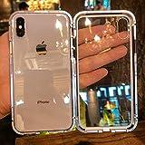 iPhone X ケース iphonex カバー アルミ バンパー 背面ガラス アイフォン X 透明 強化ガラス バックプレートマグネット式 磁力で接続 QI ワイヤレス 充電対応 軽量 薄型 スマホケース 擦り傷防止 耐衝撃保護(iphone X,シルバー)