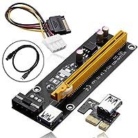 PCI - E 1X to 16xマイニングマシンエクステンダーライザーカードアダプタwith 60cm ( 2フィート) USB 3.0& SATA電源ケーブル