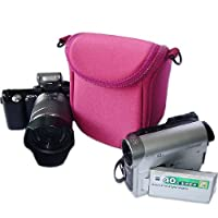 first2savvvピンク高品質傷防止ナイロンデジタルビデオカメラバッグケースfor Panasonic Lumix DMC - hc-v10