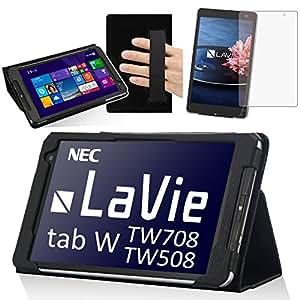 【液晶保護フィルムセット】NEC LaVie Tab W TW708 T1S/ TW708BAS/TW508 (8型・8インチ / Windows 8.1搭載モデル)専用レザーケース  【オートスリープ機能つき】(3機種共通・専用 TW708 T1S / TW708BAS/ TW508BAS ) (lavietabW , ブラック)