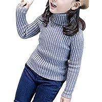 Plus Nao(プラスナオ) 長袖セーター 長袖ニット ニットトップス ニットソー タートルネック プルオーバー 子供用 キッズ レイズドストライ