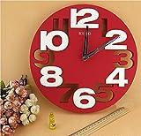 [笑顔一番] 全4色 クール で オシャレ な モダン アート 3D ウォール クロック 立体 デザイン の 壁掛け 時計 [A064-06] (レッド)