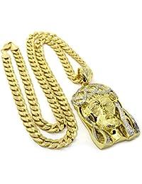 メンズ14 K Gold Plated Iced Jesus Faceペンダントヒップホップ30