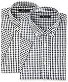 [セシール] 先染めカジュアルシャツ(半袖2枚組セット) JY-799 メンズ A(ネイビー+ブラック) 日本 L (日本サイズL相当)