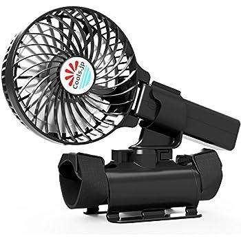 Cools.jp USB扇風機 抱っこファン(着用自在) 充電池式 携帯扇風機 幅4インチファン 黒