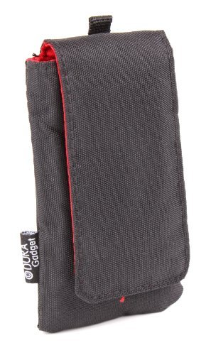 Black Cushioned Music Player Case / Pouch With Red Interior Lining for the Sony Walkman NW-A35 - by DURAGADGET [並行輸入品]