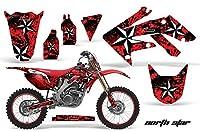 ホンダcrf250r 2004–2009MXダートバイクグラフィックキットステッカーデカールCRF 250R with number plates Northstar Red