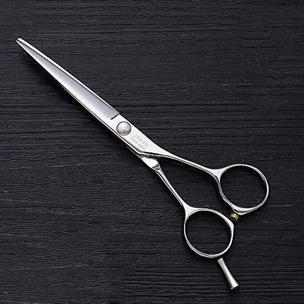 ローラーオデュッセウスライセンス理髪用はさみ 5.5インチ理髪はさみ、ヘアスタイリスト特別な単語カット平せん断ヘアカットはさみステンレス理髪はさみ (色 : Silver)