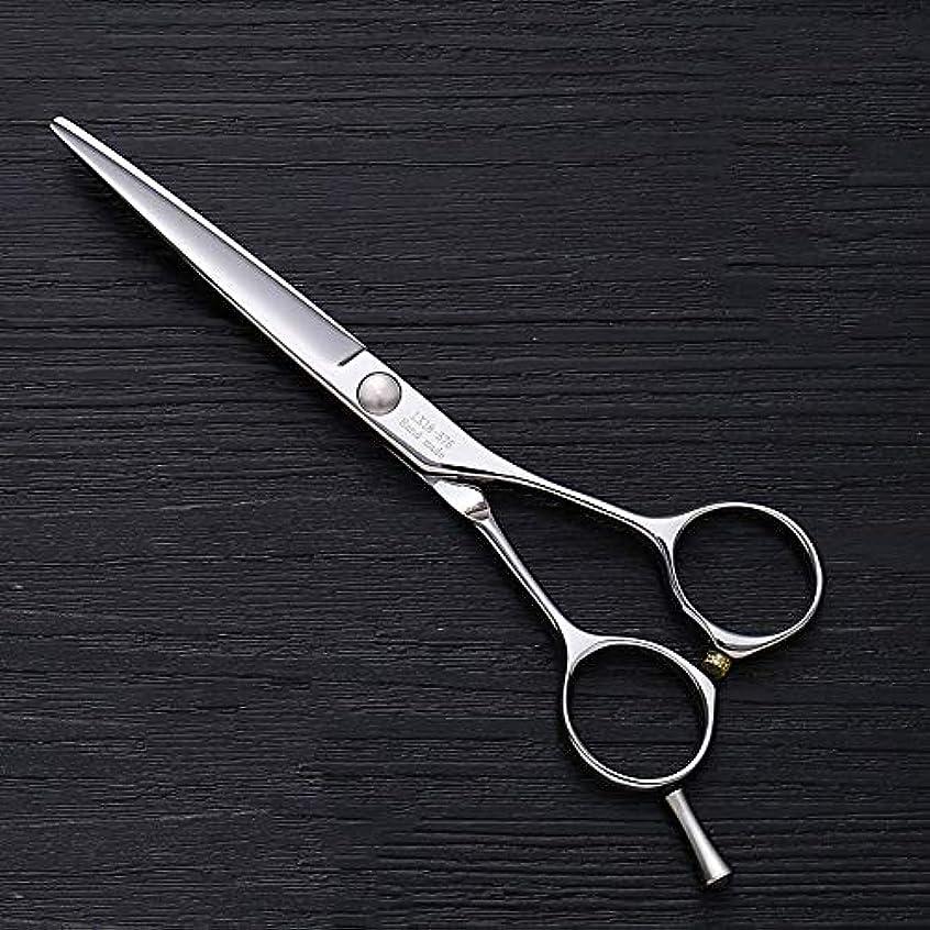 前書きチャーミング肺炎Hairdressing 5.5インチ理髪はさみ、ヘアスタイリスト特別な単語カット平せん断ヘアカットはさみステンレス理髪はさみ (色 : Silver)