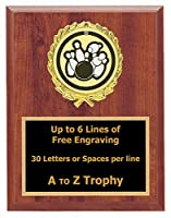 Bowling Plaque Awards 7 x 9木製スポーツトロフィーLeague Tournament Trophies Free Engraving