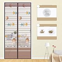 静かな夏 磁気カーテン、フルフレームベルクロ マグネット付き簡単網戸 玄関網戸 自動で閉-150×220センチメートル(59×87インチ)-B