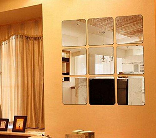 【16枚セット】壁貼りシール 鏡シール インテリア鏡貼 浴室 化粧 壁 装飾ミラー 安全 割れない 折れない 鏡効果 おしゃれ 薄型 空間節約 四角形 15 x15cm (0.2mm, 16)