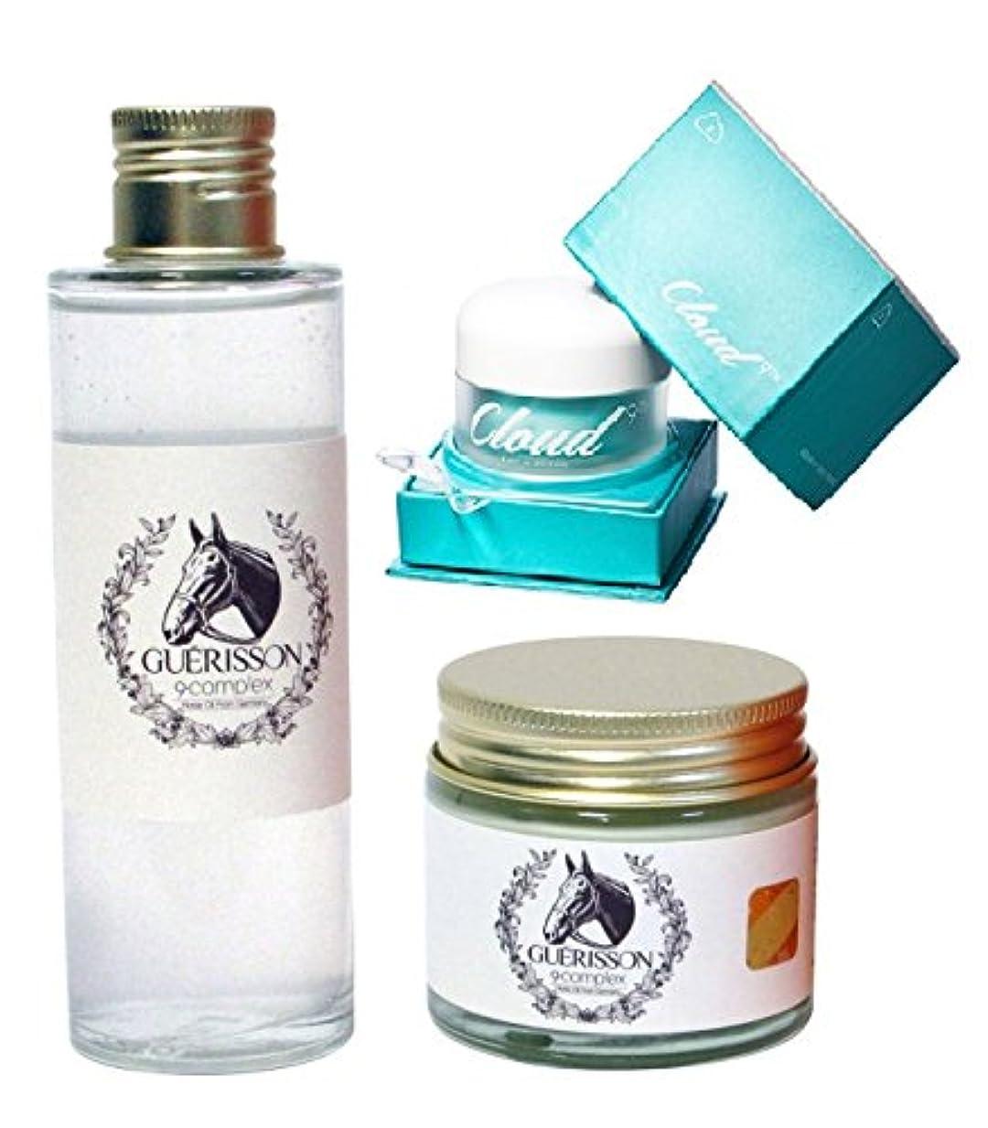 ご覧くださいオーストラリア人してはいけないGUERISSON / CLOUD 9 ゲリソン馬油クリーム70g + ゲリソン馬油エッセンス70g + クラウド・ホワイト二ング・クリーム50ml 3点セット (Moisturizing Scar Cream Horse Oil Wrinkle Care Set) 海外直送品