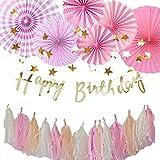 Hanamei(ハナメイ) 誕生日 飾り付け 装飾 バースデー デコレーション セット no.3 筆記体 スクリプト 女の子 pa008 (Aピンク)