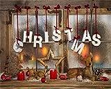 Best ヴィンテージクリスマスデコレーション - aofoto 5x 4ftクリスマスデコレーション写真背景ヴィンテージXmasツリーBackdrops木製ウィンドウ敷居スノーフレークFawn Deer Candle Stars Kid Ba Review