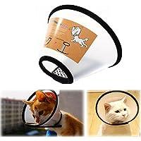 E-Fly エリザベスカラー 猫 フェザーカラー ソフト マジックテープ 透明 介護用品 手術後のケアに (L)