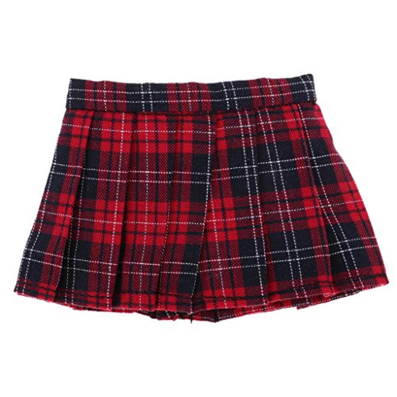 Prettyia 人形服 グリッド柄 プリーツスカート ユニフォームスカート 1/6スケール BJD SD AS DZ DODドール用 全2色選ぶ - ワインレッド