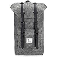 "YULUO - Modern Unisex Outdoor College School Waterproof Travel Hiking Daypack Backpack, with Classic Belt Detailing - Fits Laptops & Tablets up to 15.6"" - 4 Colors (Grey with Black Belt)"
