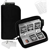 Eco-Fused Memory Card Carrying Case - Suitable for Sdhc and SD Cards - 8 Pages and 22 Slots - Microfiber Cleaning Cloth Included Black