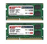 Komputerbay MACMEMORY 8GB (2x 4GB) DDR3 PC3-8500 1066MHz SODIMM 204-Pin アップルコンピュータのためのノートパソコンのメモリ