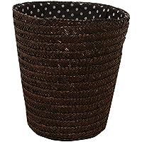 【メルカド かご収納雑貨の店】 ストロー ブラウン ダストボックス型 バスケット 内布:水玉柄
