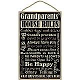 """SJT ENTERPRISES, INC. Grandparents' House Rules 10"""" x 16"""" Primitive Wood Plaque, Sign (SJT28336)"""